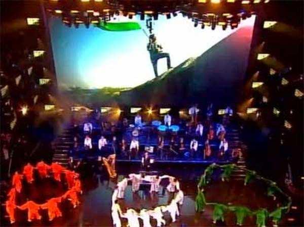 Artists perform on Vande Mataram at UKs Wembley Stadium