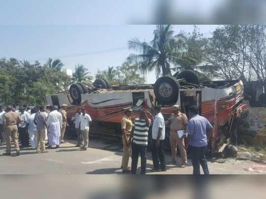 காஞ்சிபுரம்- சாலையில் பேருந்து கவிழ்ந்ததில் 20 பேர் படுகாயம்!