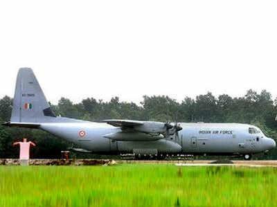 पनागढ़ एयरबेस पर तैनात C-130J सुपर हरक्यूलिस विमान।