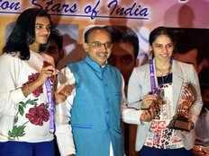 Sindhu Saina Srikanth felicitated by Sports Minister