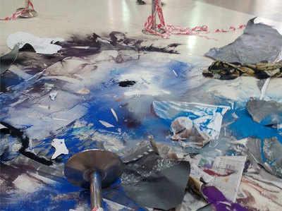 पद्मावती के लिए बनाई गई रंगोली को ऐसे किया गया नष्ट