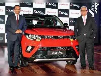 Pawan Goenka, MD of Mahindra & Mahindra Ltd with Automotive Sector President Rajan Wadera during the launch of the new KUV 100 NXT vehicle in Mumbai on Tuesday.Photo