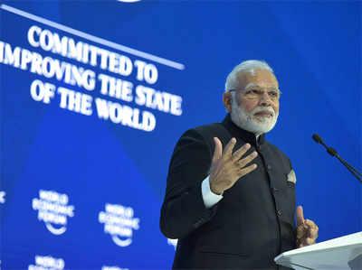 WEF सम्मेलन को संबोधित करते पीएम मोदी।