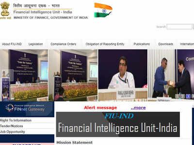 FIU-India की वेबसाइट पर जारी की गई लिस्ट।