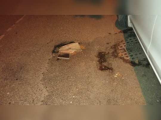pot hole on road