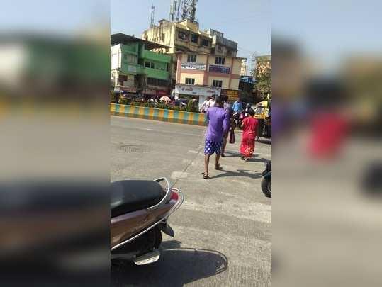 crossing the road near vartak nagar bus stop