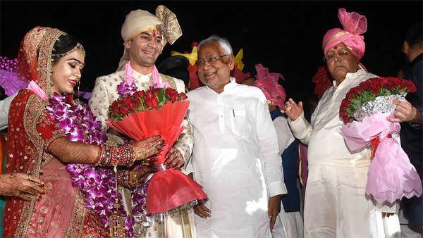 watch lalu yadavs son tej pratap ties knot with rjd leader chandrika rais daughter