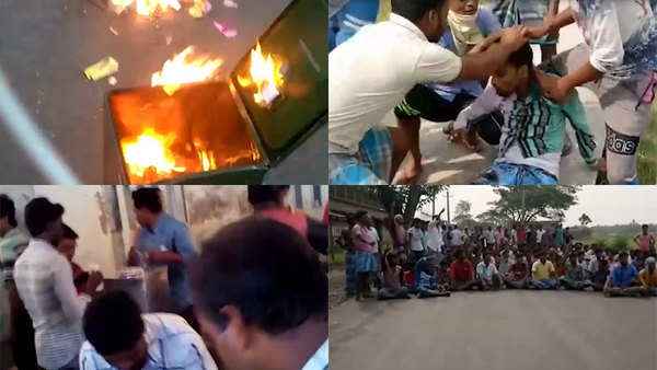west bengal violence during panchayat polls goons set ablaze ballot boxes