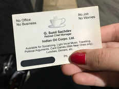 funny business card of retired chief manager is viral on social media