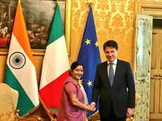 sushma swaraj discusses bilateral relations with italian pm
