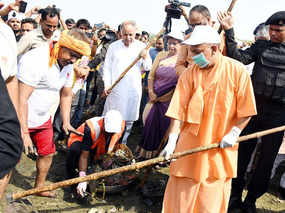 cm yogi begins cleanness drive from gomti river in lucknow