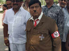 tdp mp naramalli sivaprasad is today dressed up as adolf hitler
