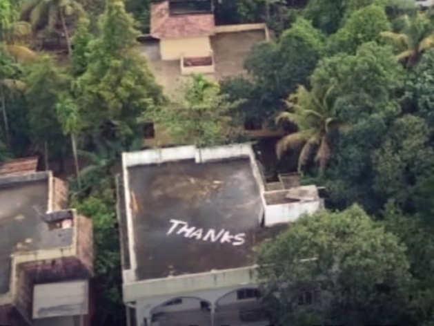 केरल: घर की छत पर 'थैंक्स' लिख कोच्चि ने जताया इंडियन नेवी का आभार