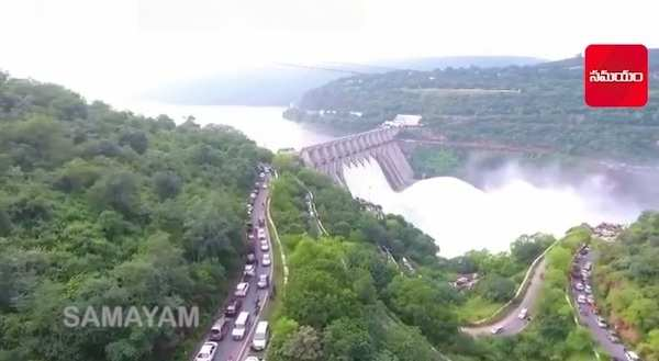 enjoyed the view of the srisailam dam across krishna river