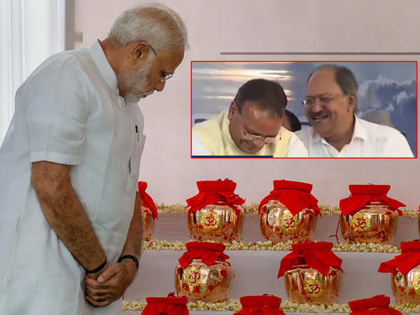 caught on cam ministers seen joking and laughing at ceremony to immerse atal bihari vajpayees ashes