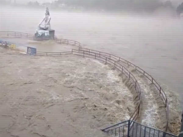 on cam ganga flowing near danger mark after heavy rains in rishikesh