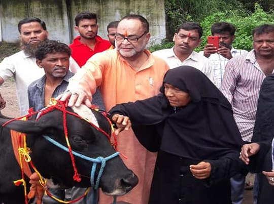 मुस्लिम महिलाओं के साथ गाय को राखी बांधते बीजेपी एमएलसी.