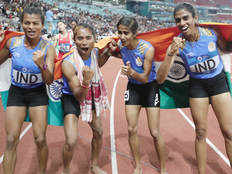 13th gold for india in womens 4x400m relay