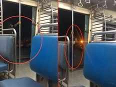 girl performs dangerous stunt on mumbai local train