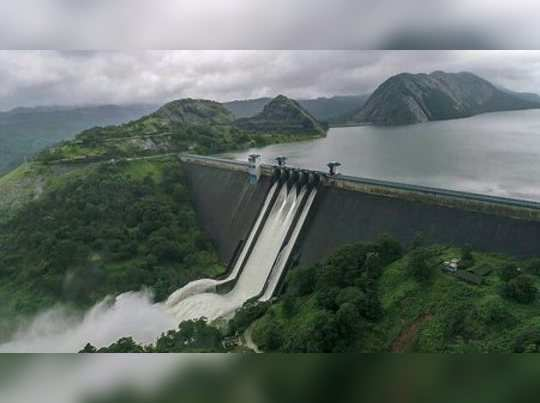 Idukki: A view of the Idukki Dam as water level continued to rise in the reservo...