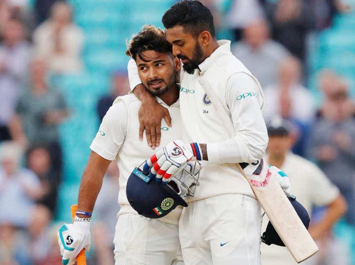 लोकेश राहुल और ऋषभ पंत के बीच छठे विकेट के लिए 204 रनों की साझेदारी हुई।