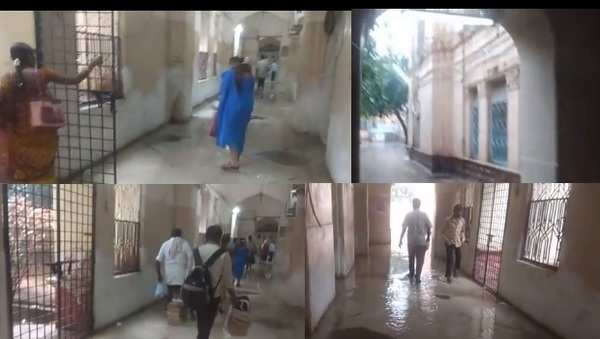 rain water entered into osmania general hospital old building