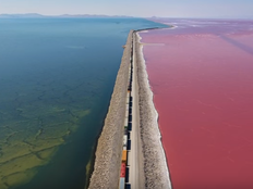 drone video shows the effects of different salt levels in great salt lake
