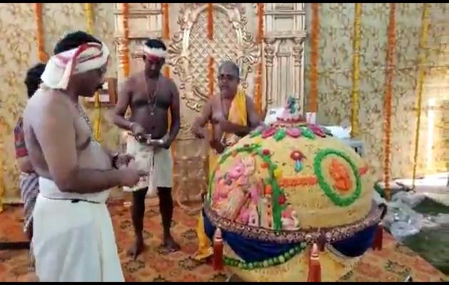 गणेश चतुर्थी: गणपति को चढ़ाया गया 600 किलो का लड्डू
