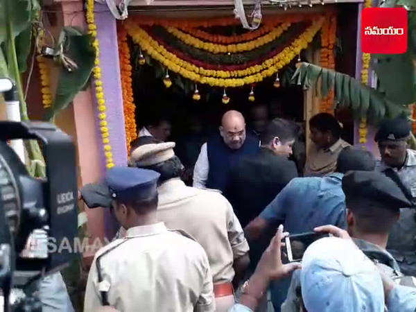 watch amit shah visits simhavahini temple in hyderabad old city
