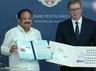 vice president m venkaiah naidu and president of serbia aleksandar vucic release commemorative stamps on nikola tesla and swami vivekananda