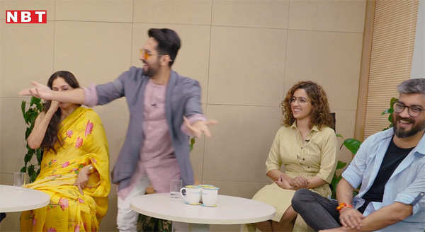watch funny moments with star cast of movie badhaai ho during an interview