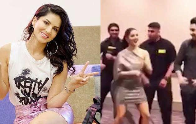 सनी लियोनी ने अटलांटा में सुरक्षाकर्मी के साथ किया डांस