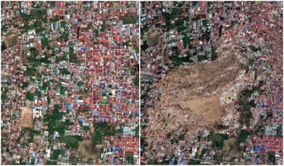 इंडोनेशिया में तबाही के पहले और बाद की तस्वीर (बाएं से दाएं)