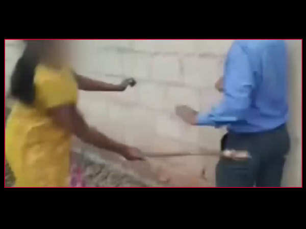 on camera woman thrashes bank manager for seeking sexual favours