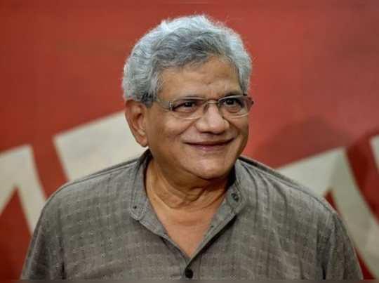 Kolkata: CPI(M) General Secretary Sitaram Yechury interacts with the media, at t...