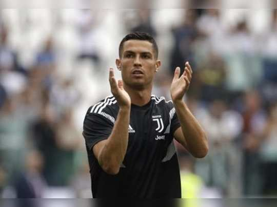 Turin: Juventus Cristiano Ronaldo applauds his teams fans before the start of t...