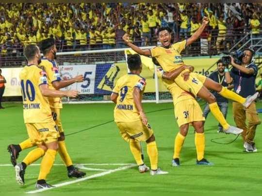 Kochi: Kerala Blasters FC footballer Holichan Narzary celebrate after scoring a...