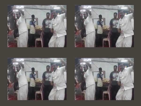 on cam tamil nadu minister sp velumani dances during temple festival in coimbatore