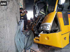 at least 16 students injured after a school bus hit a divider at rajnigandha chowk