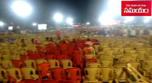empty chairs at trs chief kcr hanamkonda meeting