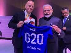 pm modi received jersey from fifa president gianni infantino
