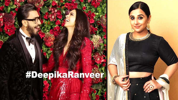 vidya balan trolled for misspelling deepikaranveer as deepak ranveer