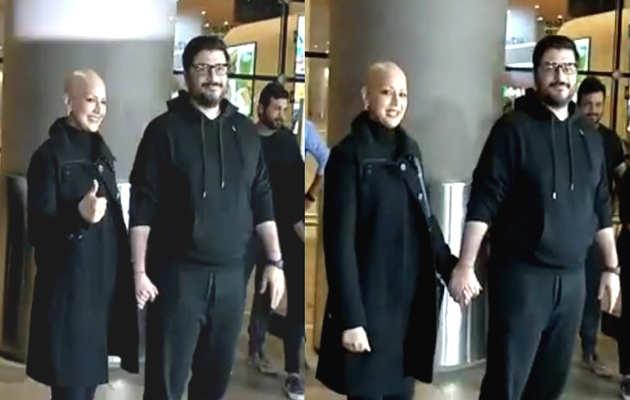 कैंसर से जीतकर मुंबई लौटीं सोनाली बेंद्रे, मीडिया के सामने हुईं इमोशनल