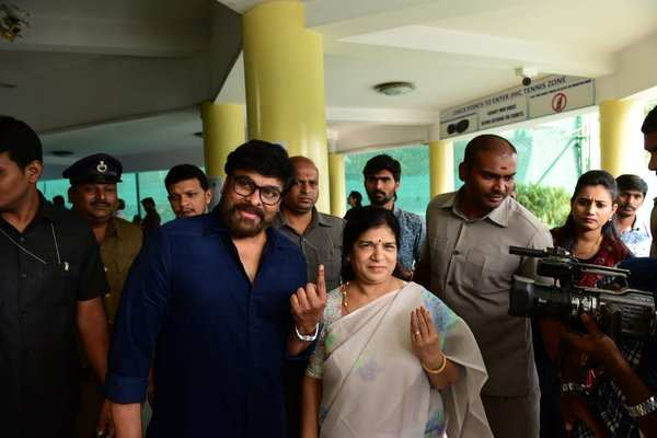 megastar chiranjeevi casted his vote in hyderabad