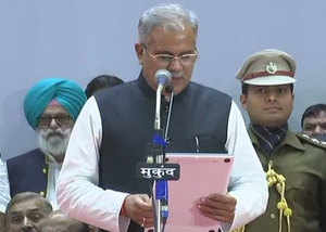 raipur bhupesh baghel takes oath as the next chief minister of chhattisgarh