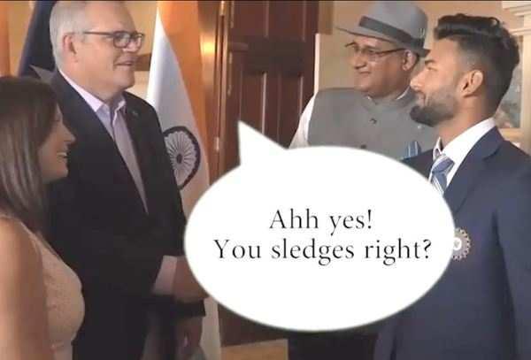watch australian prime minister teases rishabh pant for sledging