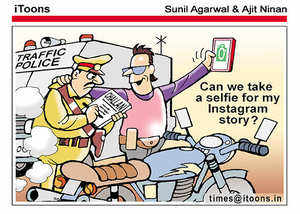 cartoon selfie with cop