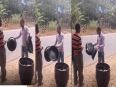 video of door to door vendor breaking his plastic vessel going viral