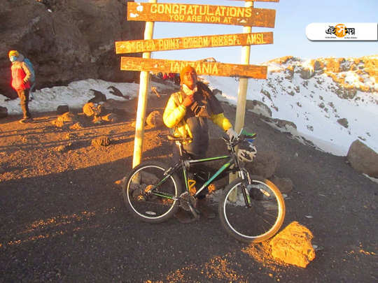 Ujjwal Pal being the 1st Indian scaled Mount Kilimanjao by riding cycle