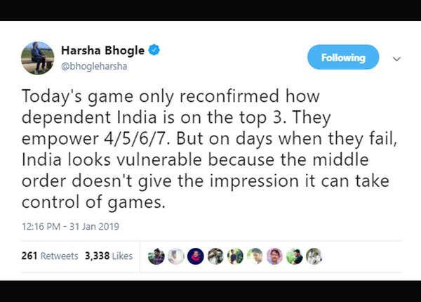 टॉप 3 पर निर्भर है टीम इंडिया: हर्षा भोगले